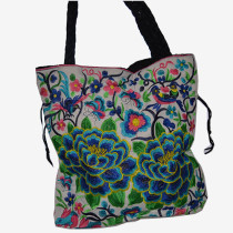 Stitched Floral Bag - White