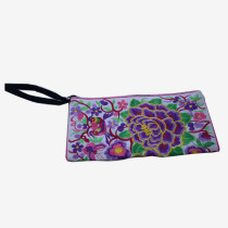 Floral Pouch M - White/Purple