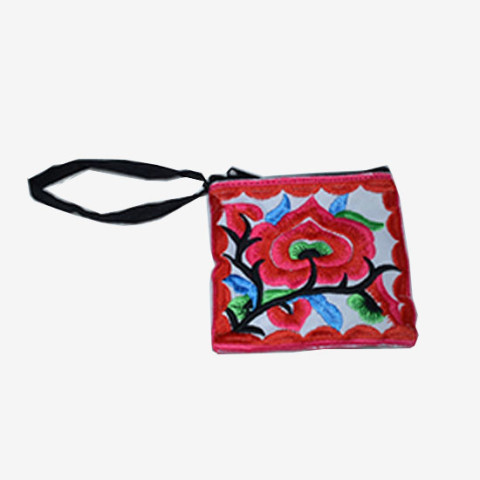 Floral Pouch XS - White/Red