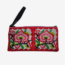 Floral Pouch L - White/Red