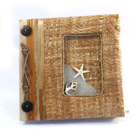 RAFIA WEAVE SHELL STAR PHOTO ALBUM RECYCLE PAPER SMALL