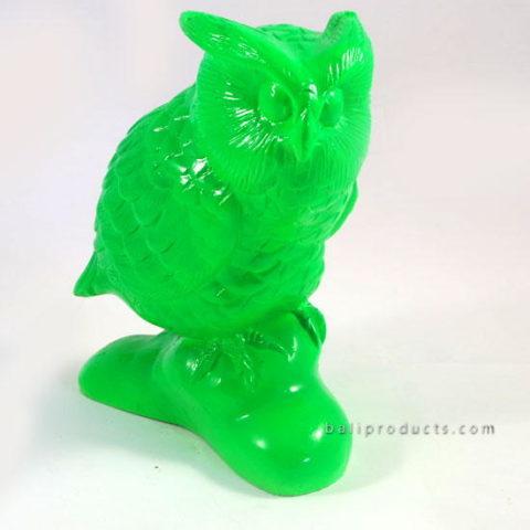 Resin Standing Owl Green