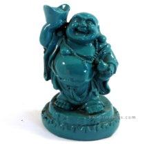 Resin Happy Buddha Standing Blue
