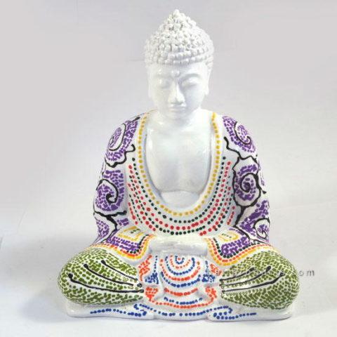 Resin Buddha Batik White