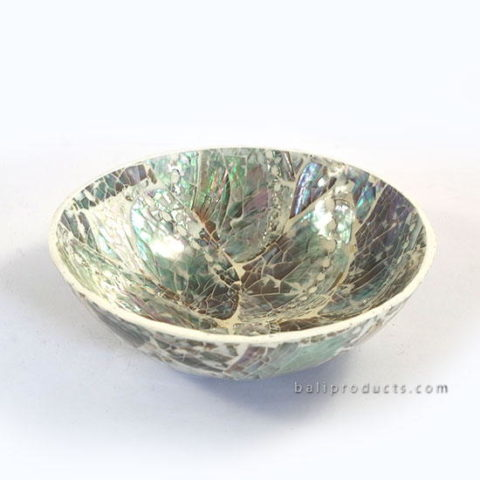 Crushed Shell Round Bowl White