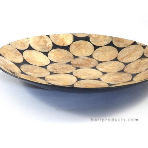 Capiz Shell Round Plate Gold Black