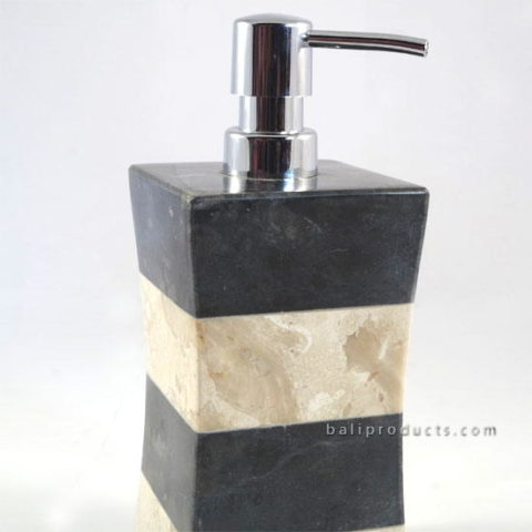 Marble Twisted Soap Dispenser Bw