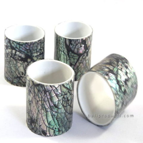 Set 4 Crush Shell Napkin Ring Black