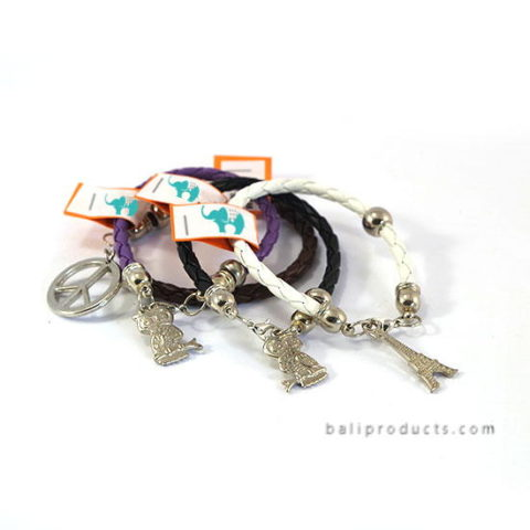 Fake Leather Bracelet With Metal Bead And Charm In White, Black, Brown, Purple