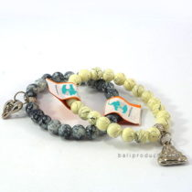 Bead Braceletin White, Black, Grey