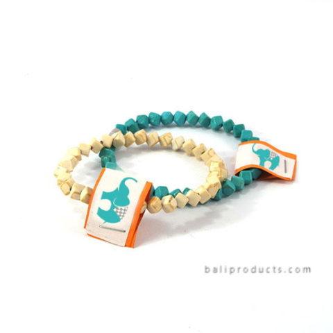 Square Beads Bracelet In White, Green