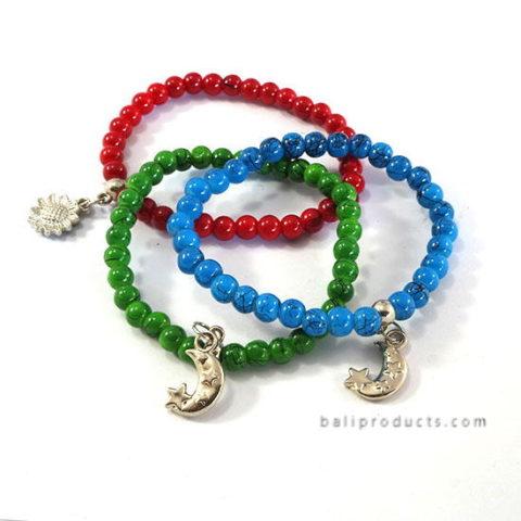 Set3 Bead Bracelet Blue Red Green