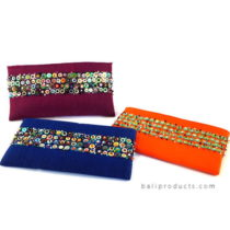 Endek Ikat Pouch With Beads Accent In Blue, Orange Red Etc