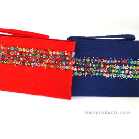 Endek Ikat Pouch With Beads Accent L In Blue, Orange Red Etc