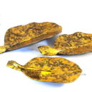 Set 3 Wooden Tray Gold Banana Leaves Motif