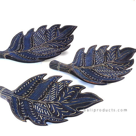 Set 3 Wooden Camplung Leave Tray Batik Motif