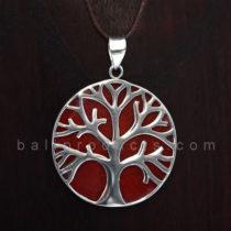Pendant Bulat Motif Pohon Merah
