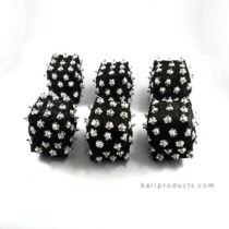 Set 6 Bamboo Box 8 Cm Black With Beads