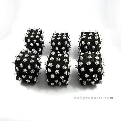 Set 6 Bamboo Box 8 Cm Black With Beads