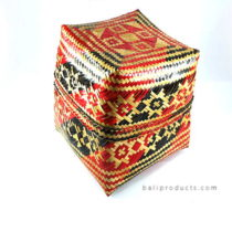 Bamboo Box Black Red Natural Weave