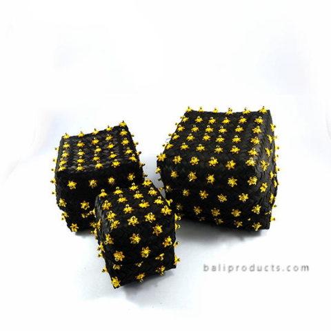 Set 3 Bamboo Box Black Golden Star Beads