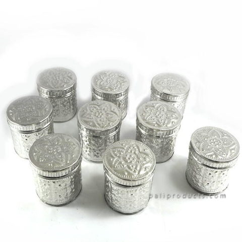 Set 9 Aluminium Carving Round Box 7.5 Cm