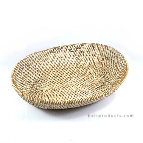 Lombok Oval Tray White Washed