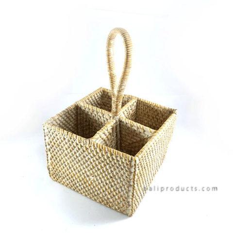 Lombok Rattan Bottle Basket With Handle