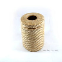 Lombok Rattan Waste Bin Round White Washed