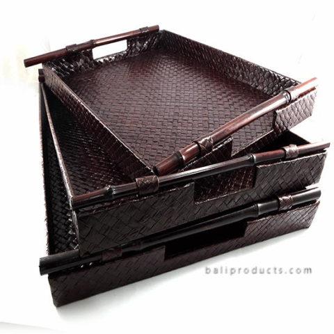 Set 3 Pandanus Tray With Bamboo Handle Dark Brown