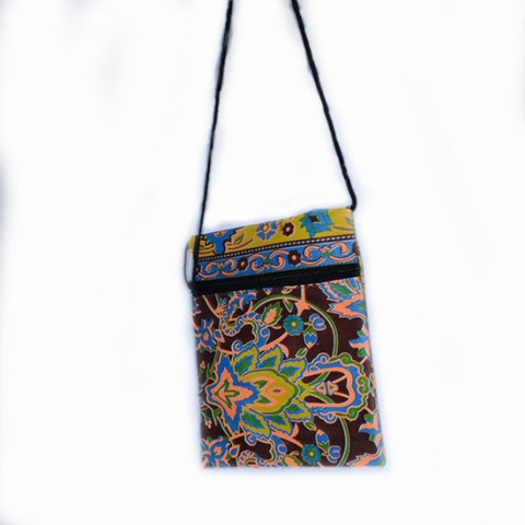Colourful Small Shoulder Bag - Brown