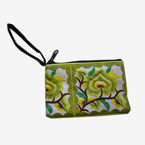 Floral Pouch S - White/Green