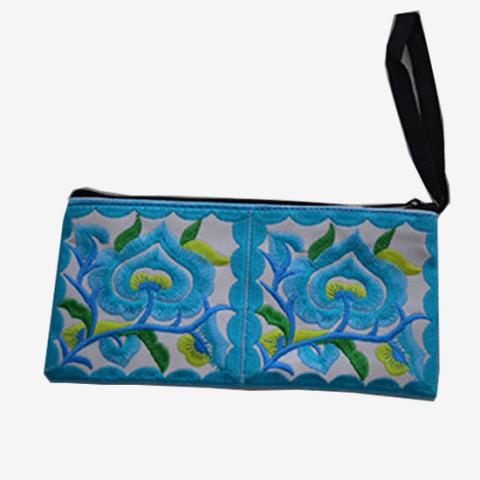 Floral Pouch L - Blue