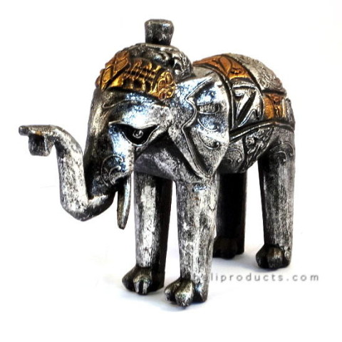 Silver Wooden Elephant