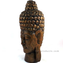 Tall Wooden Buddha Head