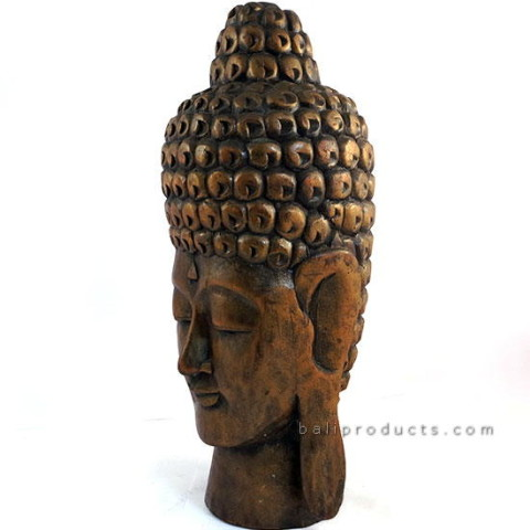Tall Wooden Buddha Head