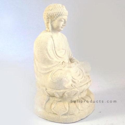 White Stone Lotus Buddha 20cm