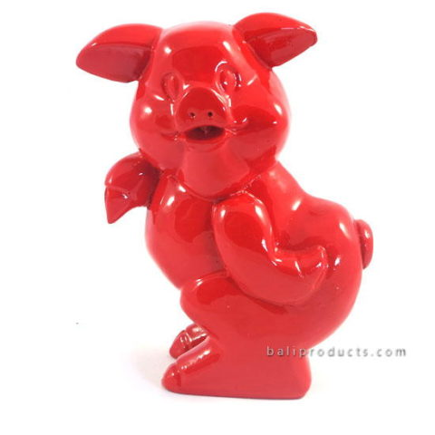 Resin Standing Pig Red