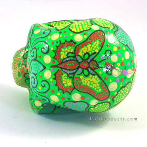 Resin Skull Batik Green