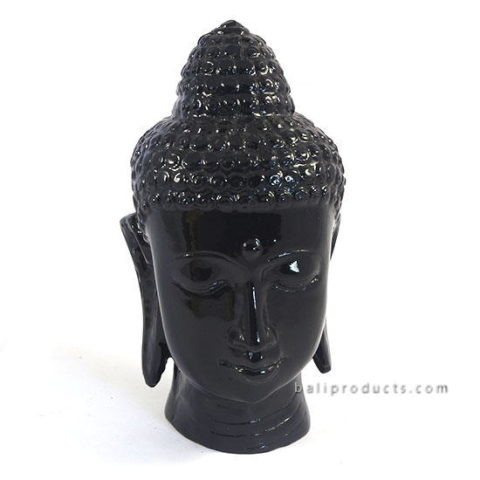 Resin Buddha Head Black
