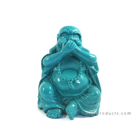 Resin Happy Buddha Closing Mouth Blue