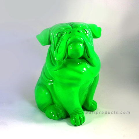 Resin Sitting Pug Green