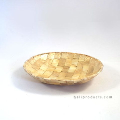Capiz Shell Bowl Round Gold