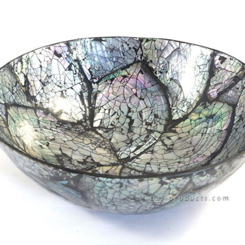Crushed Shell Round Tray Black