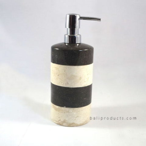 Marble Round Soap Dispenser Bw