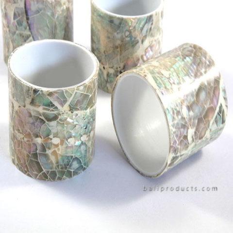 Set 4 Crush Shell Napkin Ring B White