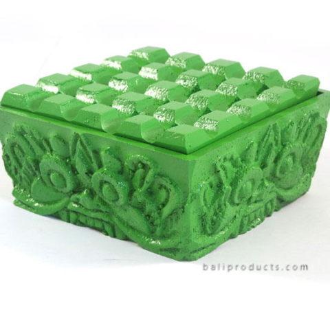 Square Resin Ashtray Green Boma Carving