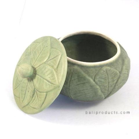 Ceramic Round Container Banana Leaf