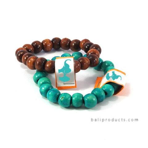 Wood Bead Bracelet Brown, Green