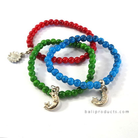 Set3 Bead Bracelet Blue Red Green